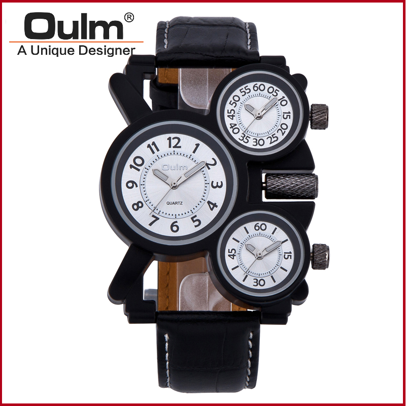Oulm men's quartz watch watch the military adventures of multi feature 3-movt black leather watches the sports business clock