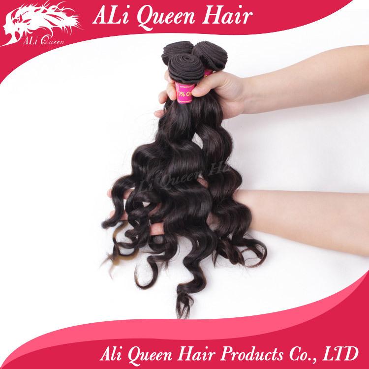 Ali Queen Hair Products Brazilian Hair Weave Bundles Natural wavy or More Wave 3Pcs Lot, 100% Cheap Human Hair Weave Bundles(China (Mainland))