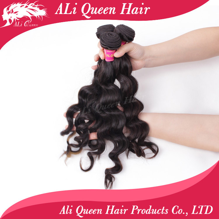 Ali Queen Hair Products Brazilian Hair Weave Bundles Natural wavy or More Wave 3Pcs Lot, 100% Cheap Human Hair Weave Bundles(China (Mainland))