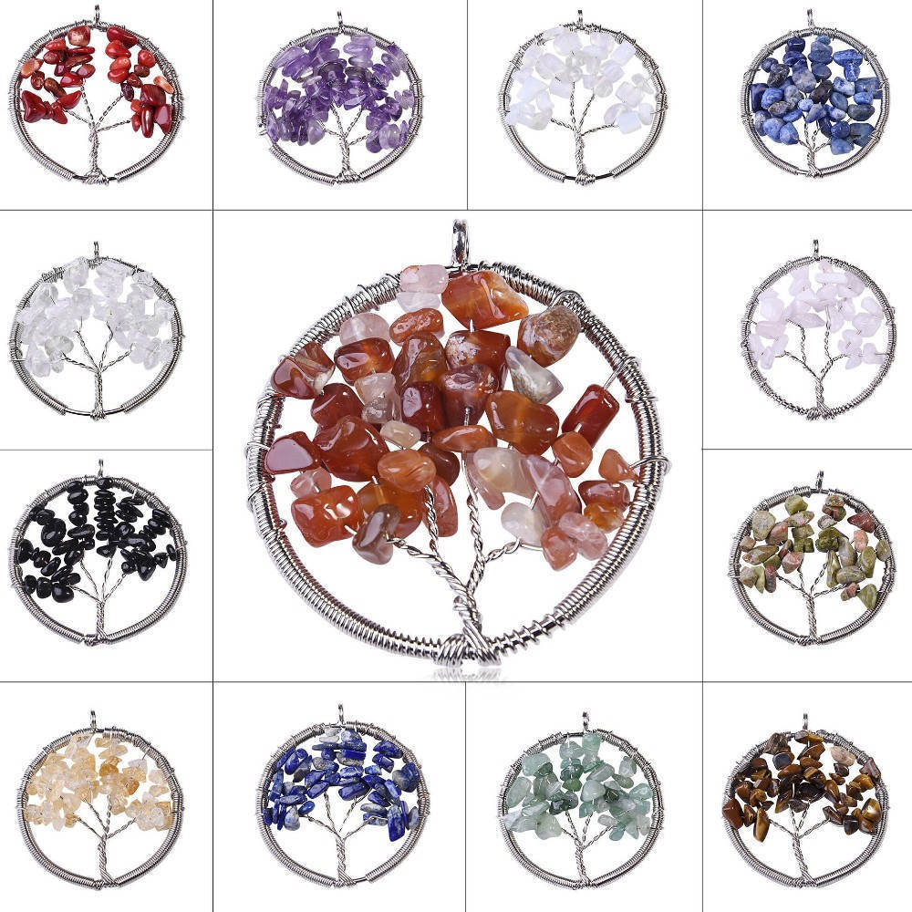 Amethyst Tree Of Life Natural Stone Round Pendant Necklace Women Crystal Christmas Gift Jewelry dy1012(China (Mainland))