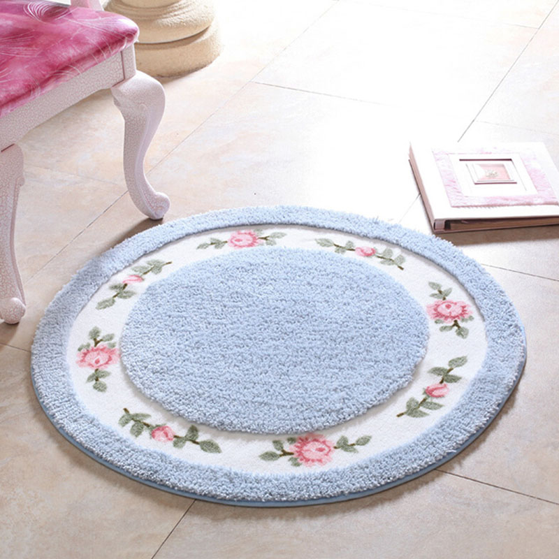Hand Wash And Machine Washable Kitchen Rugs Roses Round Floor Mats Pastoral Living Room Doormats