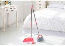 Stainless steel rod broom broom dustpan set combination of fluff dustpan suit bag mail(China (Mainland))
