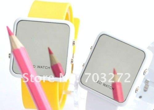 freeshipping!2pcs/lot Brand New!Mirror LED Digital Date Sport Wrist Watch Fashion led watch !