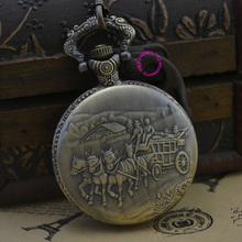 fashion quartz carriage horse man pocket watch classic vintage antique Pendant groom fob watches ancient bronze classic retro(China (Mainland))