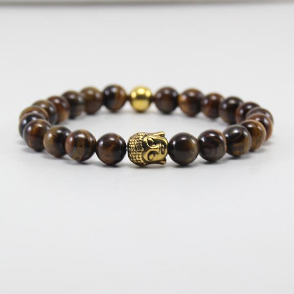 BB0344 2015 selling natural stone bracelet, 8mm agate beads bracelets, men's ancient gold Buddha head bracelet.(China (Mainland))