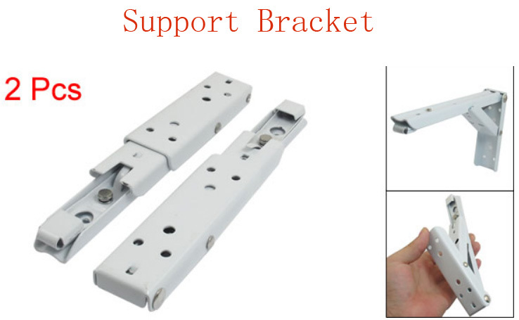 2 Pieces Spring Design Folding Triangle Support Wall Bracket Off White w Screws(China (Mainland))