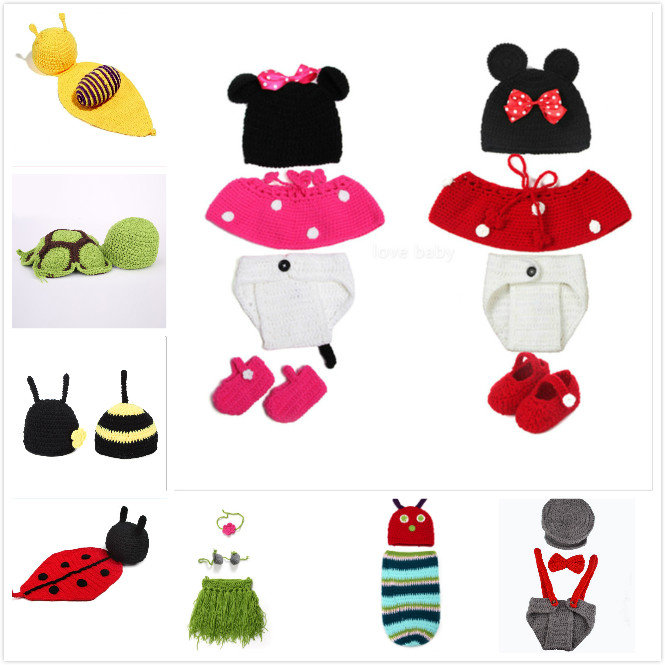 2016 Retail Crochet Baby Animal Designs Baby Photography Props Knitted Infant Clothes Newborn Crochet Outfits(China (Mainland))