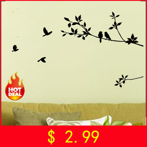 Free shipping: Black Bird Tree Branch Wall Stickers DIY Art Home Family Decals Kids Nursery Decor Wall Decals Home Decoration(China (Mainland))