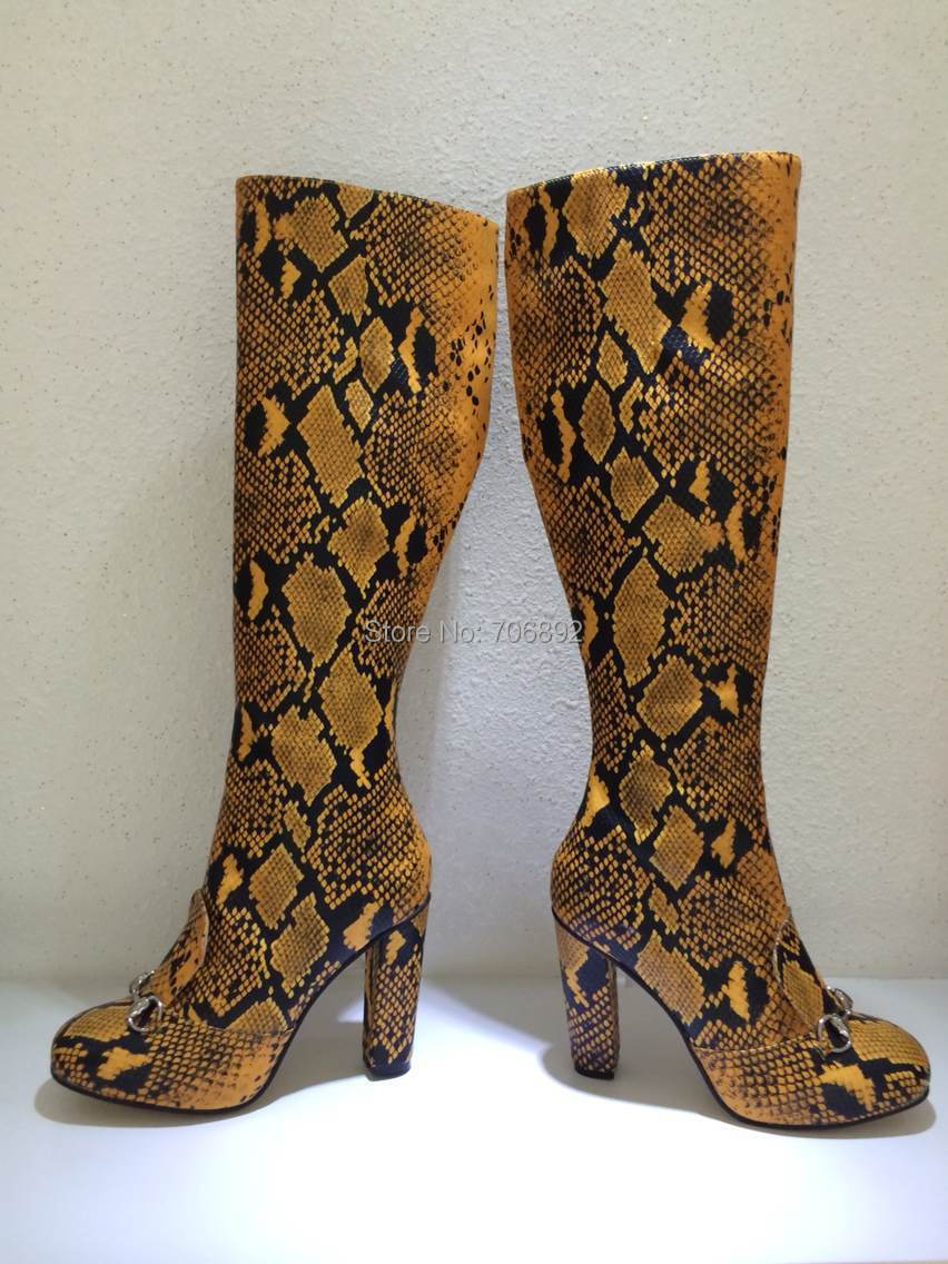 New Designer Python/snake Animal Print Rough Heel Tall Boots Sexy