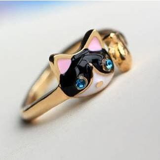Minimal mix styles $5 fashion imitation diamond personality cat ring(China (Mainland))