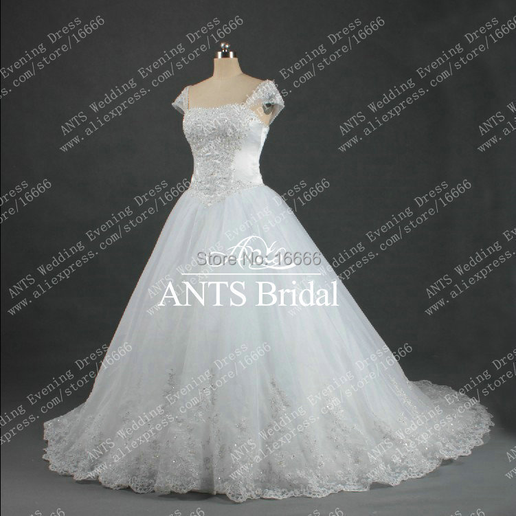 Hot sale a line cap sleeves beaded white organza bridal for Wedding dresses with sleeves for sale