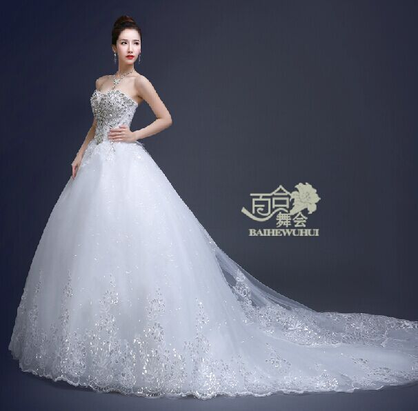 Hot Sell 2015 Bride Tube Top Big Long Trailing Slim Racerback Diamond Wedding Dress Bridal