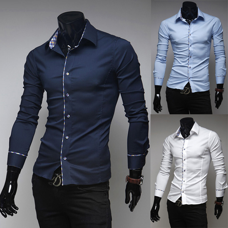 2015 new fashion four seasons long sleeve slim men dress shirts casual white camisa masculina  -  DT boutique store