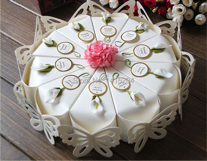 50 pcs Creative Sweet Butterfly White Cake Candy Boxes + Flower + Card Wedding Favor Gift Paper Box free shipping(China (Mainland))