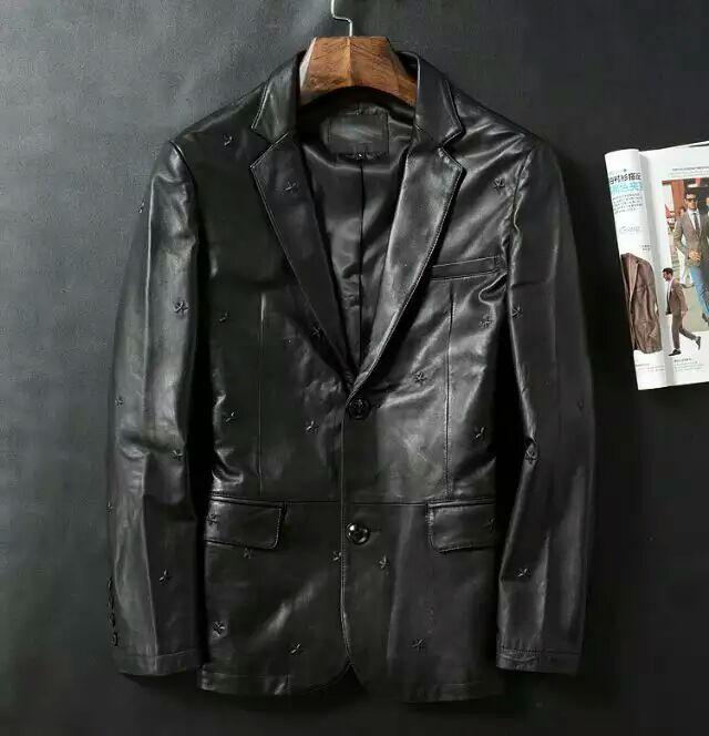 2015  Hot model  men black leather jacket   skeepskin leahter jacket with 3D stars decoration   Size M--3XL(China (Mainland))