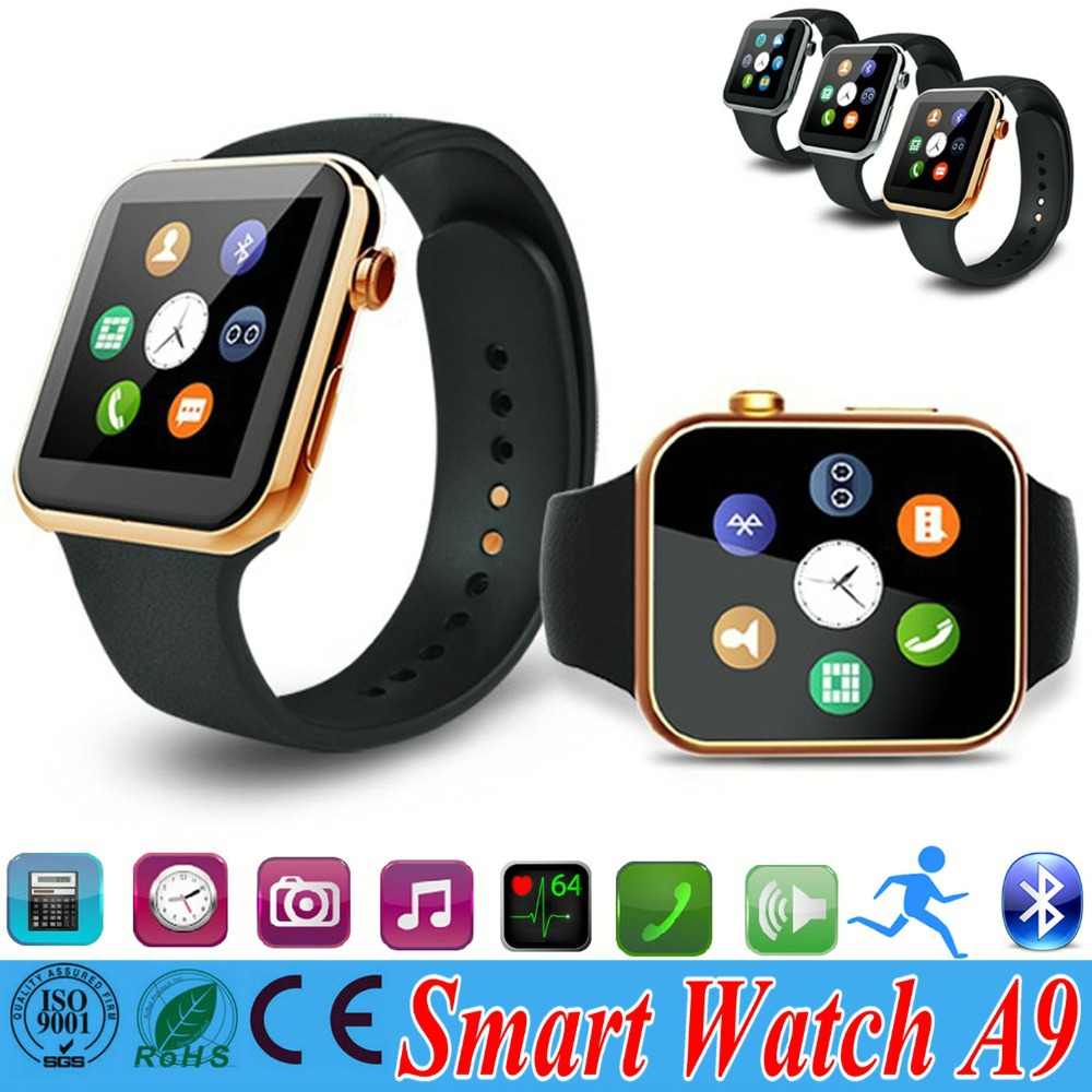 A9 Gold Men smart watch phone for Android Smartphone Bluetooth smartwatch(China (Mainland))