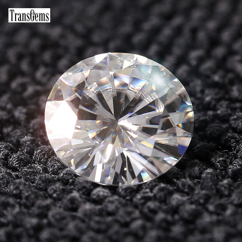 Transgems 5MM Moissanite Loose Stone for Fine Jewelry Equivalent Diamond Weight 0.5ct Clear Moissanite Beads for Jewelry Making