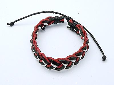 Leather Bracelets, with Wax Cord, Mixed Color, Size: about 54mm inner diameter, 16mm wide, 4.5mm thick<br><br>Aliexpress