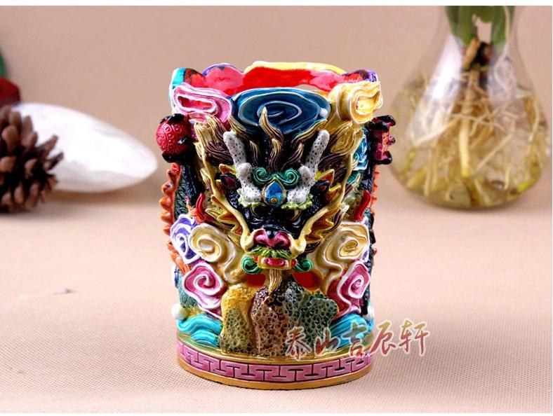 Chinese Retro Fashion Handmade Colorful Polymer Clay Dragon&Auspicious Clouds Pen Container Decoration Craft(China (Mainland))