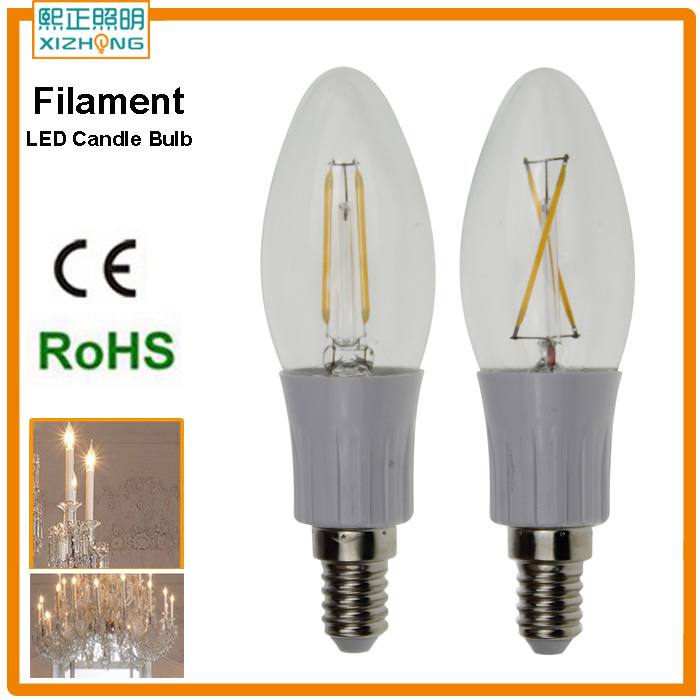 Hot Sales 2W 4W E14 C35 CE Dimmable Filament Candle LED Light Bulb 2 Strips for Droplight indoor Lighting Fastshipping(China (Mainland))