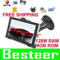 Wholesale 5 inch LCD Car GPS Navigator 4GB memory  DDR 128M free map FM EBOOK GAME MP3 MP4