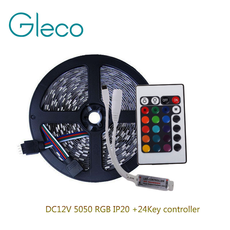 DC12V 5050 RGB LED Strip Set 60LED/m 5M LED Strip RGB 5050 LED Tape + Mini 24key RGB Controller(China (Mainland))