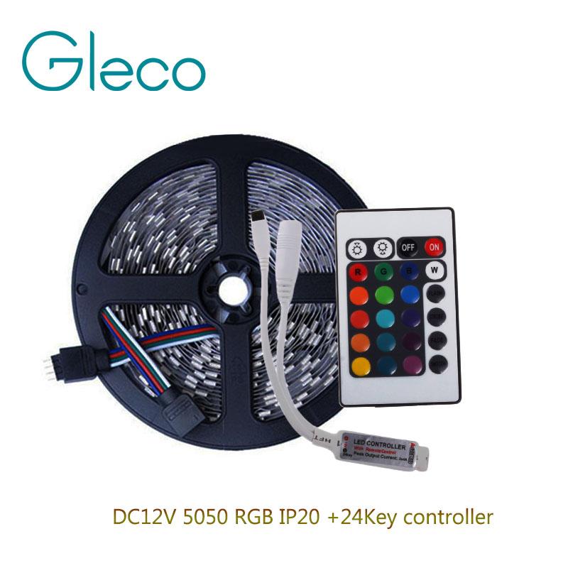 DC12V 5050 RGB LED Strip Set 60LED/m 5M LED Strip RGB 5050 LED Tape + Mini 24key RGB Controller(China (Mainland))