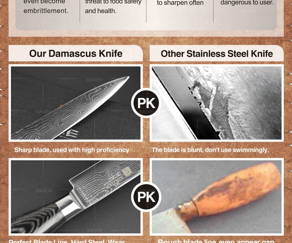 Buy XINZUO 5 pcs kitchen knife set 73 layers Damascus kitchen knife Japanese chef cleaver knife  color wood handle free shipping cheap