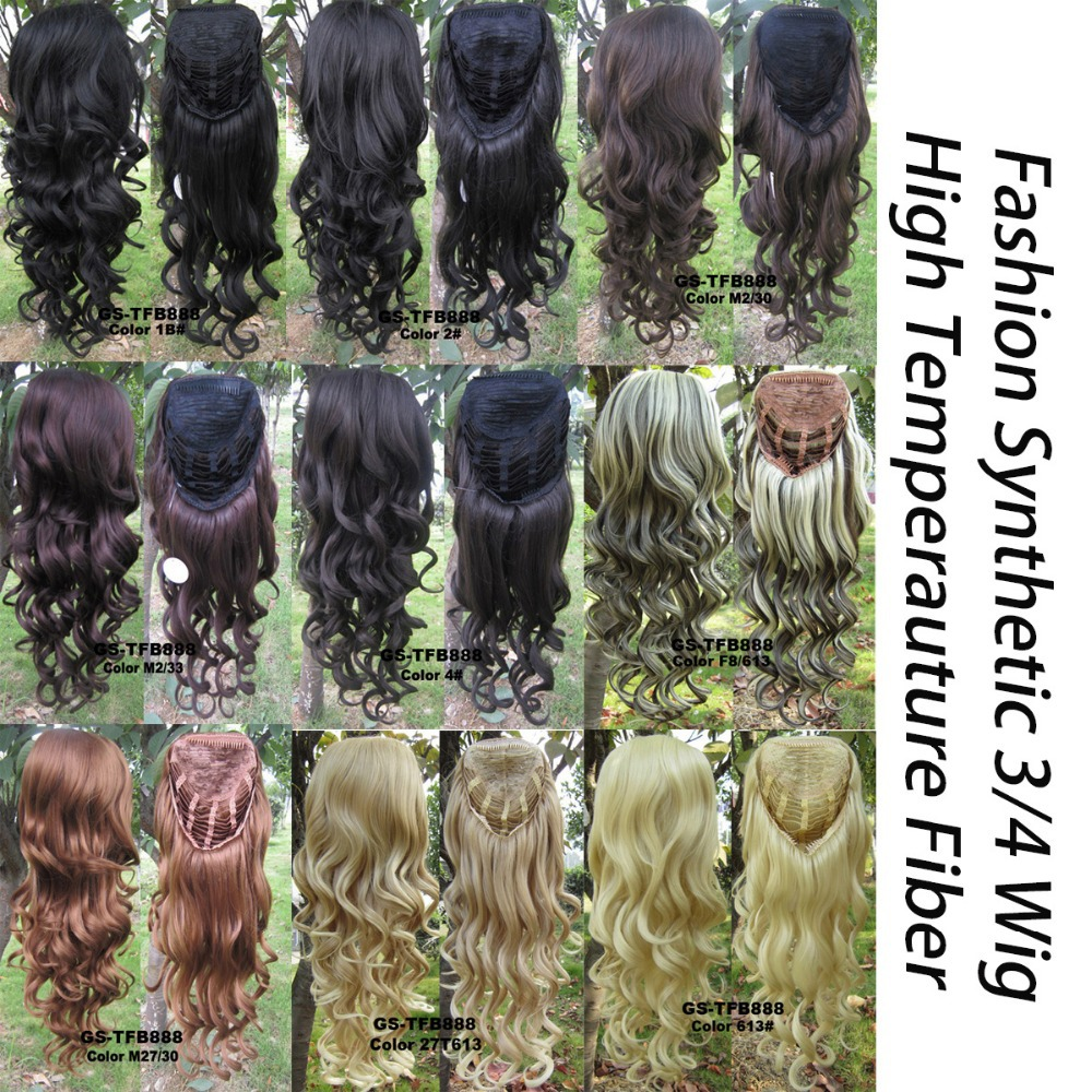 2015 Promotion 1pc+fast Shipping 10 Colors Brand New Women Wig 3/4 Fashion Synthetic Wigs High Temperature Hair The Lining Of(China (Mainland))