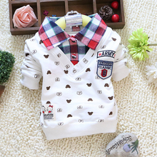 2015 spring autumn baby boy long-sleeve t-shirts,Little bear cartoon plaid lapel cotton boy clothing tees kids clothes   024(China (Mainland))
