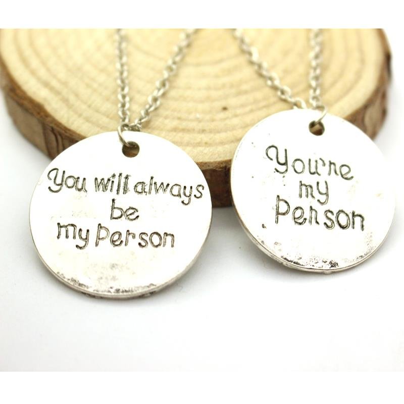 Free Shipping Grey Anatomy Necklace Hot Sales Letter You Are My Person, You Will Always Be My Person Pendant Necklace Wholesale(China (Mainland))