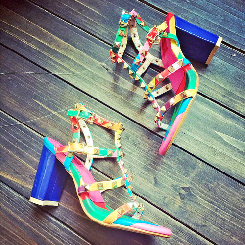 Здесь продается  Womens Sandals 2015 Summer Valentine Shoes Thick Heel Sandals Sexy Rainbow Shoes Ankle Strap Multicolored Heels Rivets Shoes  Обувь