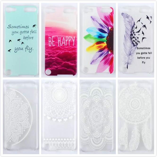 Ultra-thin Luxury Mandala Paisley Flower Transparent Hard PC Protective Case for Apple iPod Touch 5 5th 5Gen Clear Back Cover()