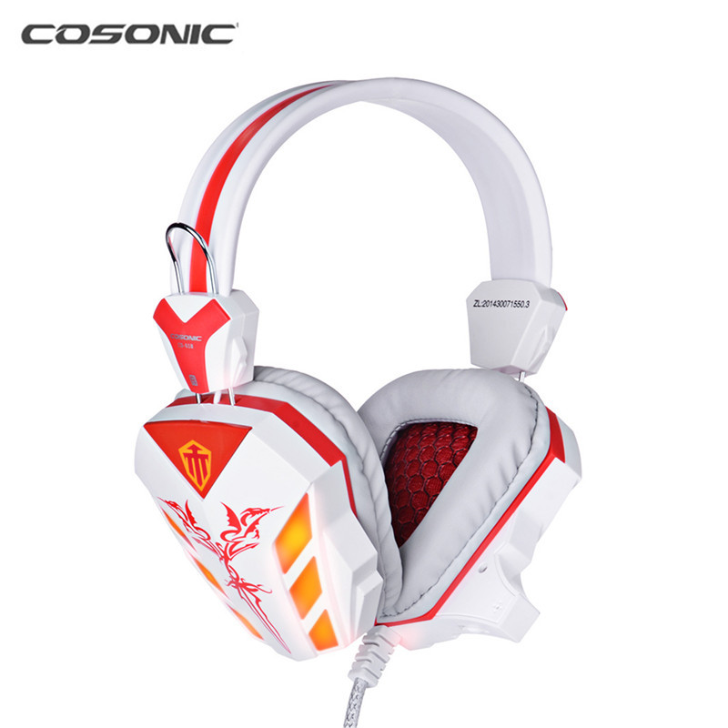 Cosonic CD-618 40mm Driver Unit Two-channel Stereo Gaming Headset Headphones with Volumn Control Mic LED Light for PC Computer(China (Mainland))