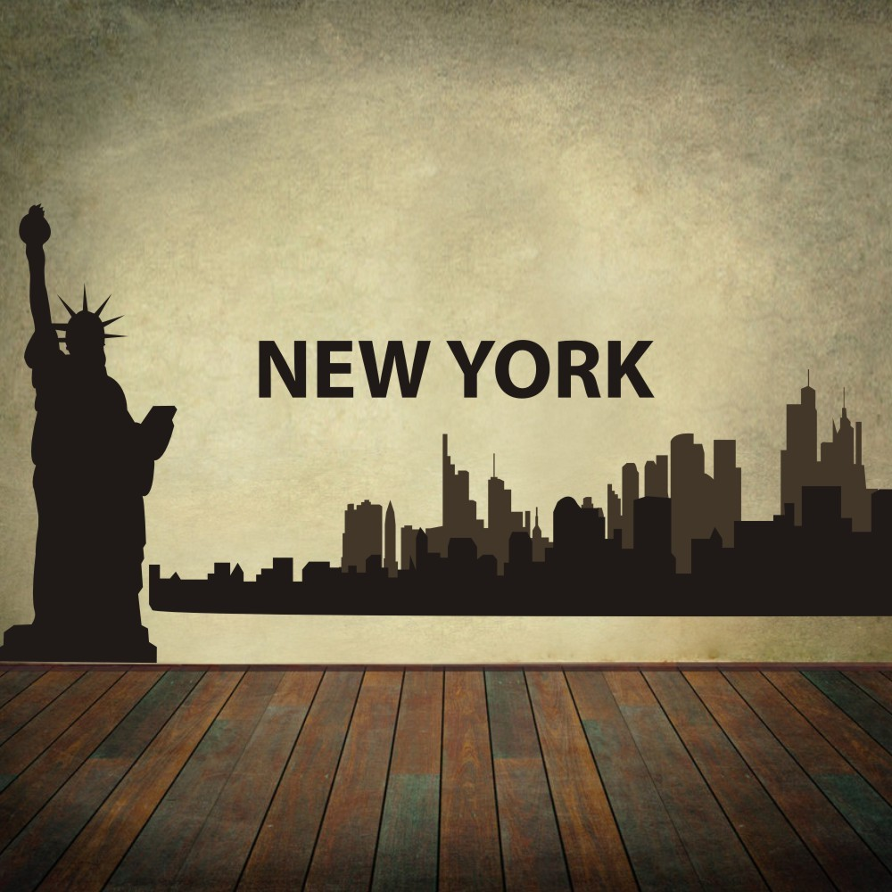New york city skyline silhouette the big apple wall for New york city decor