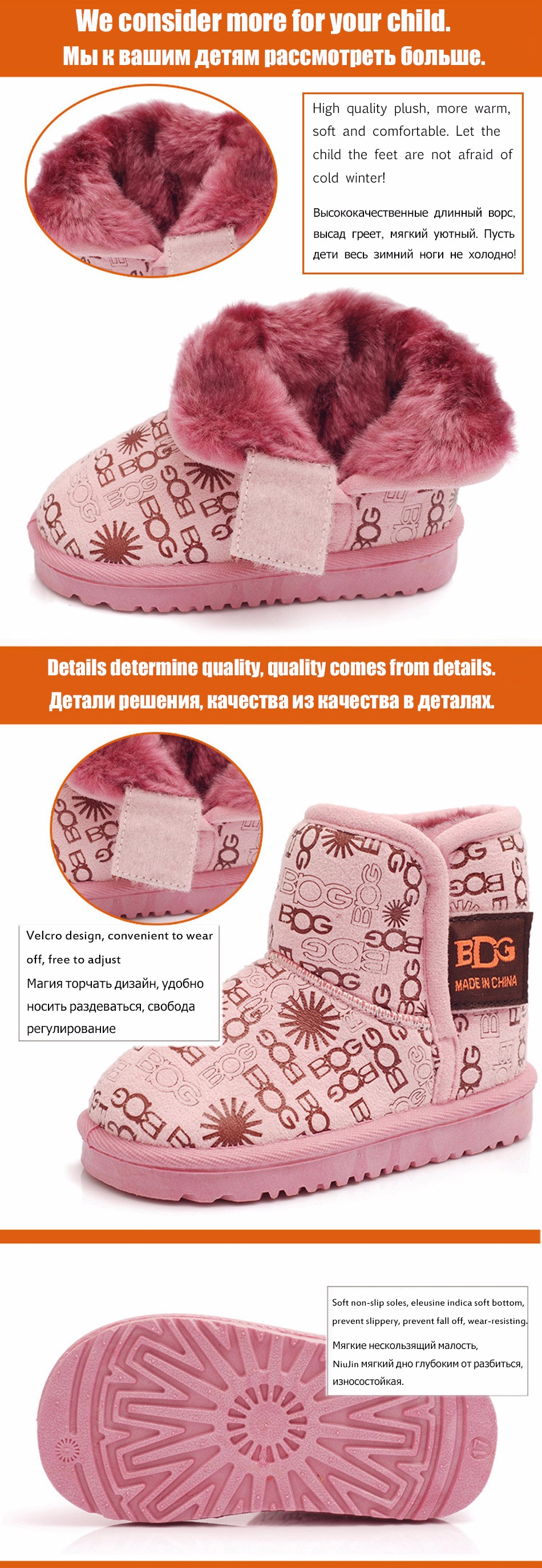 Girls Boots ugs Kids Boots Thick Warm Shoes Cotton-Padded Suede Buckle Boys Girls Boots ugs kids Snow Boots Shoes Waterproof