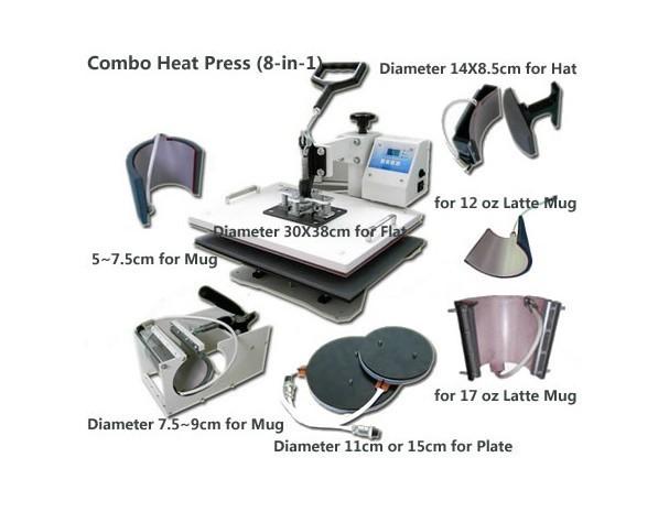 Купить Combo теплообменного оборудования 8 в 1 для кружка крышка плиты Футболка печатная машина DX801