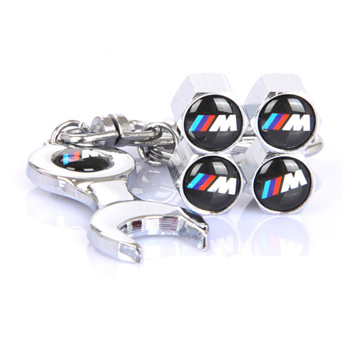 5pcs lot 4pcs Car Tyre Air Valve Caps 1pcs Mini Wrench Keychain  M M Power
