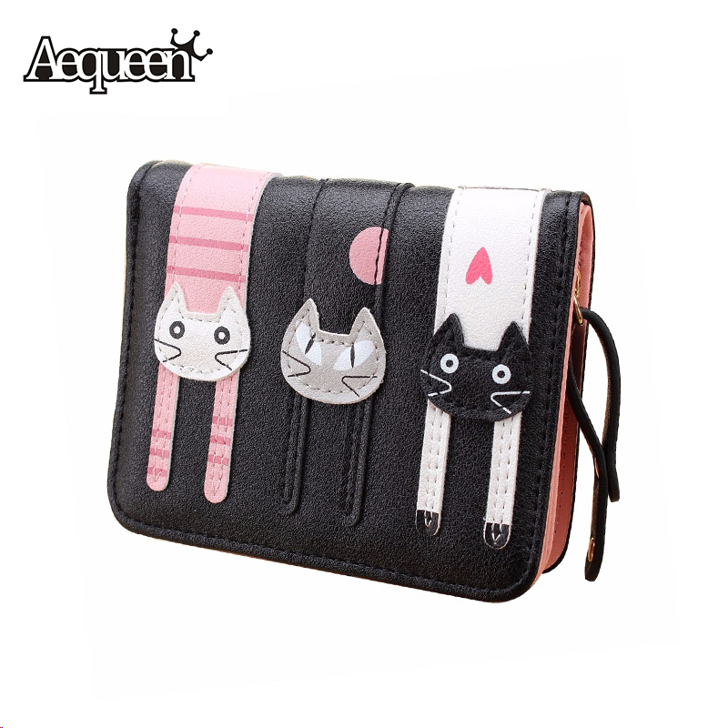 Cute 3D Cat Wallets Women Mini Leather Lady Short Coin Purse Korean Lovely Zipper Pouch Girl Billfold Money Card Holders Storage(China (Mainland))
