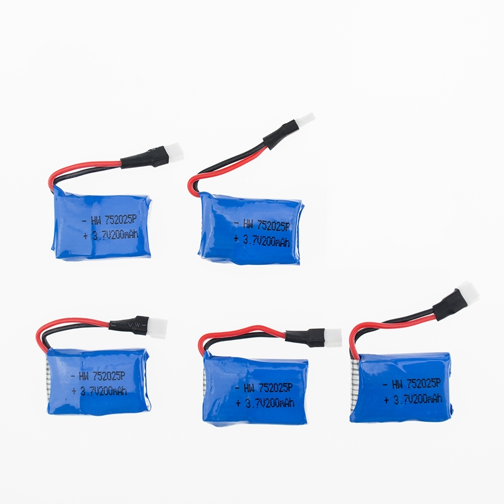 OJAX 5pcs 3.7V 200mAh Drone Rechargeable Li-polymer Battery 752025P + USB Charger Set For RC Syma X4 X11 X13 Aircraft