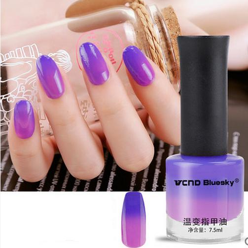1 флакон 7.5 мл фиолетовый тепловой лак для ногтей изменение цвета лака для ногтей ...