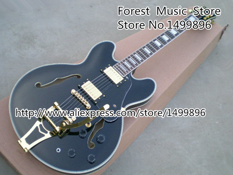 Musical Instrument Black Chinese ES Electric Acoustic Guitar Hollow Body Golden Bigsby Jazz Guitarra Kit Custom Available(China (Mainland))