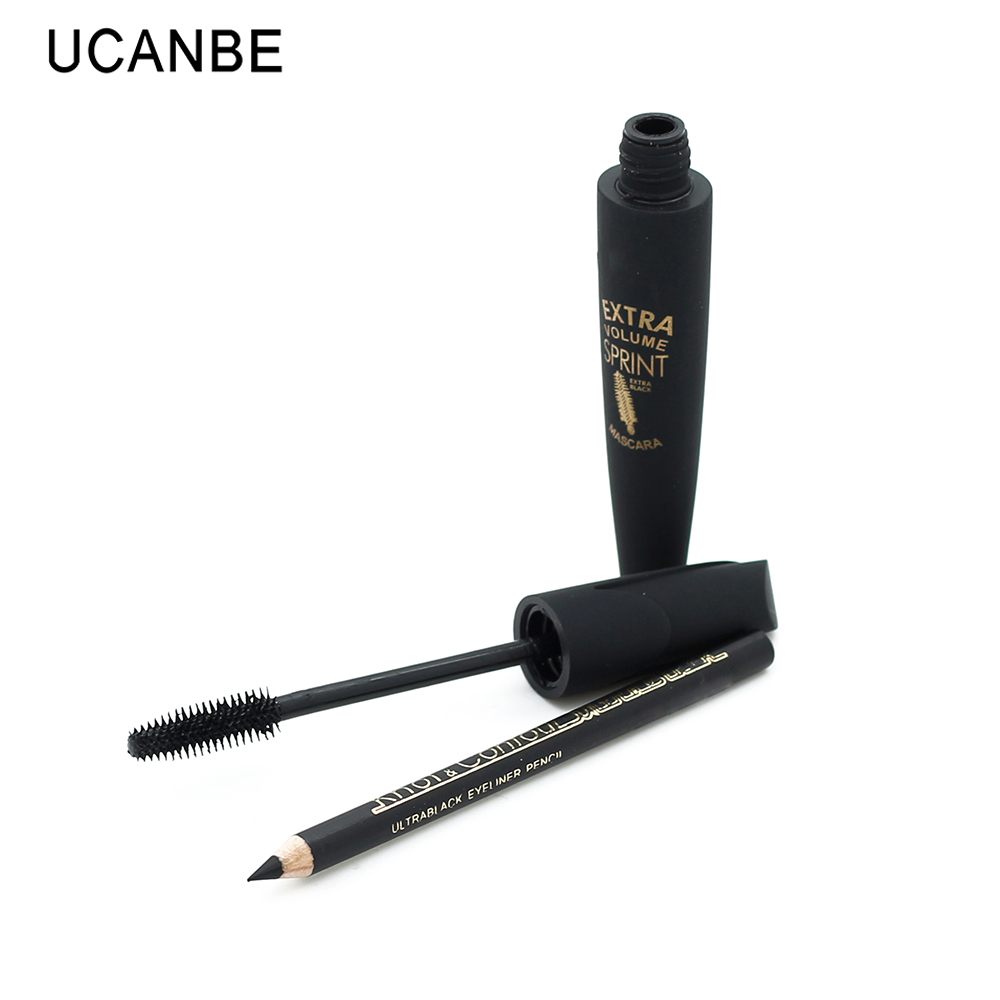 New Waterproof 3D Fiber Lash Extension Mascara Long Curl Eyelash+ Long Lasting Ultra Black Eye Liner Pencil Makeup Charming Eyes(China (Mainland))