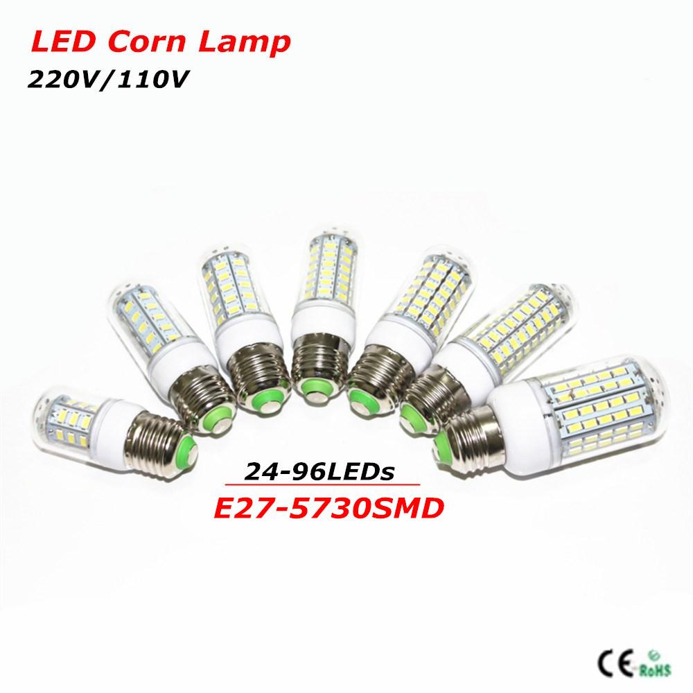 High Power E27 LED Corn Bulb 220V SMD5730 Bombillas Led 110V LED Lamp 24 36 48 56 69 72 96Chips Led Light Chandelier Lighting(China (Mainland))