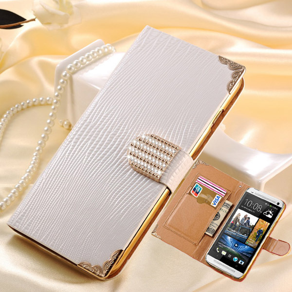 M7 Bling Wallet Flip Leather Case For HTC One M7 Fashion Rhinestone Phone Cover Cases for HTC One M7 with Card Slot Black White(China (Mainland))