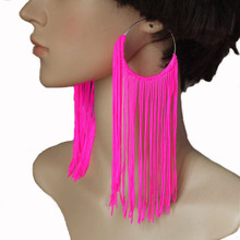 New Fashion Jewelry Women's Earring Tassel Neon Drop Earrings 5 Colors Hot Pink/Yellow/Green/Pink/Red(China (Mainland))