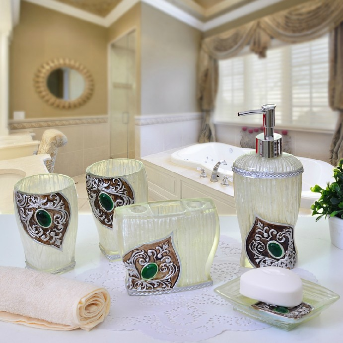 2014 luxury bathroom accessories set elegant bathroom sets for Kit deco salle de bain
