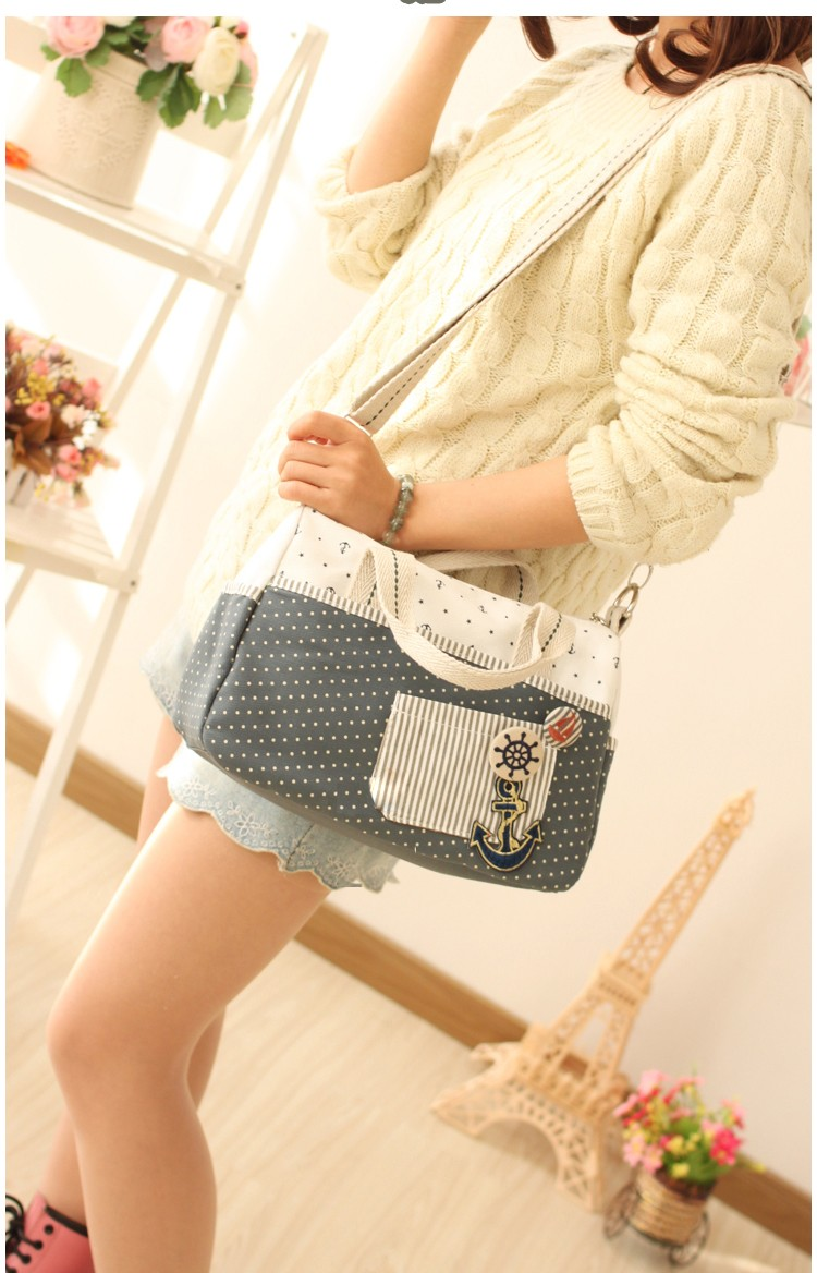 Lovely Preppy Style Ladies Fashion Handbag Stylish Embroidery Patch Pocket Spotted Casual Bag Women Canvas Shoulder Bag