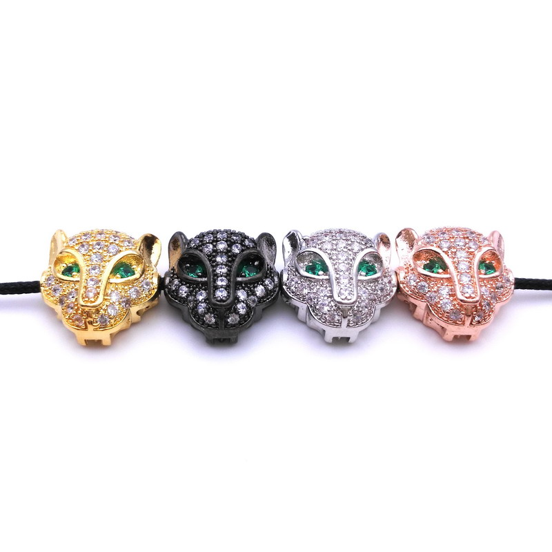 4 Colors! Micro CZ Pave Cubic Zirconia Leopard Head Beads Spacer Beads for Jewelry Making 1.1*1 CM(China (Mainland))