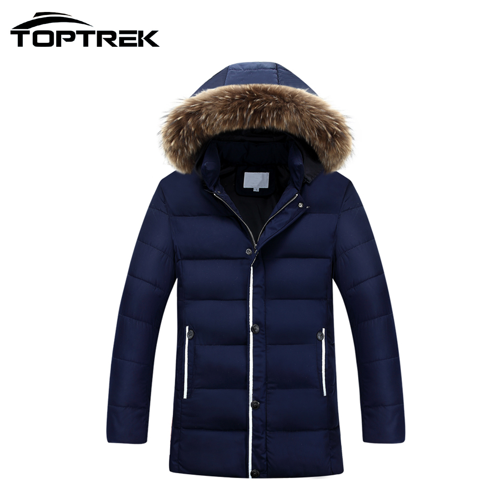 Toptrek Men Casual Winter Jacket and Coat 2016 Fur Trim Hood Cotton Filling Campera Hombre Invierno Male Ceket Casaco Masculino(China (Mainland))